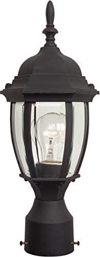 Craftmade Z265-TB Bent Glass Outdoor Pier Mount Post Lighting, 1-Light 100 Watt 7 W x 17 H , Matte Black