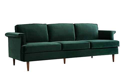 TOV Furniture The Porter Collection Contemporary Style Velvet Upholstered Living Room Sofa with Beech Wood Legs, Forest Green