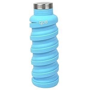 que Bottle - Collapsible Water Bottle. BPA-Free, Leak Proof, Lightweight Travel Bottle. 20oz - Iceberg Blue