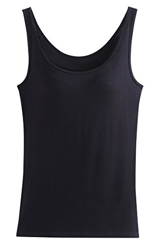 Ladies Scoop Neck Modal Cami Tank Tops T-shirt for Yoga Solid Light Black M (Yoga Cami Top)