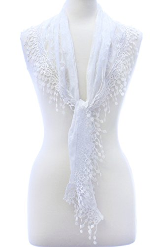 LL Womens White Triangle Lace Scarf with Rose Pattern and Flower Tassels Light