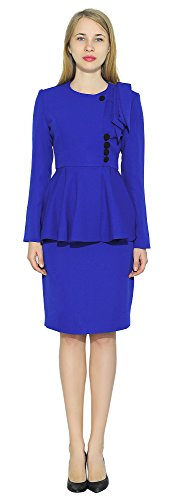 Marycrafts Womens Classy Vintage Peplum Business Church Skirt Suit Dress 22 Royal Blue