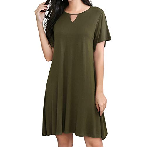 Corriee Most Wished Womens Midi Dress Summer Causal Keyhole Short Sleeve Solid Color Shift Dresses Army Green ()