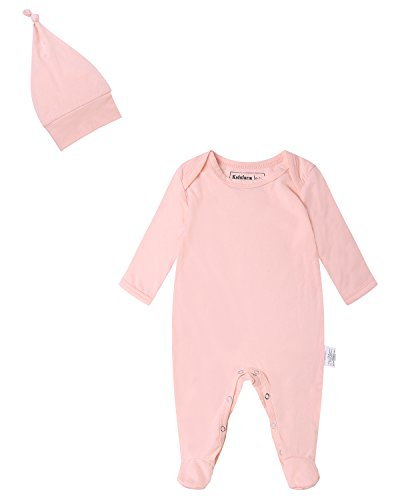 Kidsform Infant Baby Unisex Cotton Solid Footed Romper Onesie Bodysuit Pajamas With Hat Pink 0-3M (Embroidered Footed Sleeper)