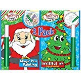 Magic Pen & Invisible Ink: Christmas Santa's Workshop & Rock'n Around the Tree Picture & Game Books by Lee Publications -