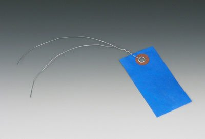 3-3/4'' x 1-7/8'' No. 3 Blue Colored Tyvek Shipping Tags with 12'' Wire Ties (100 Tags) - AB-169-7-03L by Miller Supply Inc