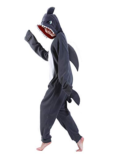 Cute Funny Cartoon Animal Character Grey Women Shark Onesie Men Shark Onesie Adult Grey Shark Onesie for Adults Shark Onesie Costume Shark Onesie for Kids Halloween