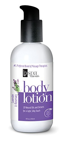 Lavender Scented Lotion (BV Spa by Bon Vital' Moisturizing Body Lotion, Lavender Rosemary Scented Body Silk for Dry Skin Repair, Anniversary Gift for Women, Moisturizer with Essential Oils for Soft Skin)