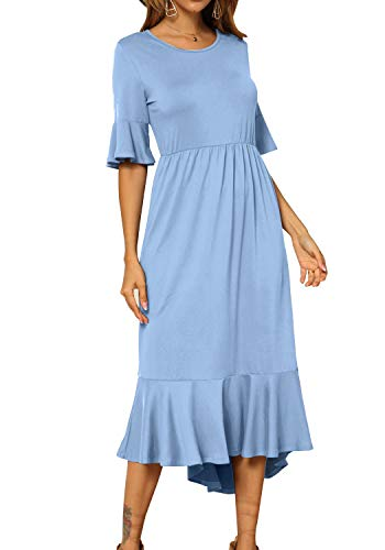 Women's Plain Casual Pleated Swing Slim Fit Modest Midi Dress SkyBlue M ()