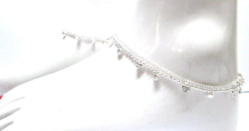 SP13ZS White Metal Silver Look Cubic Zirconia Fashion 2 Pcs Leg Payal Anklet Set Bargains Women India Indian Bollywood Fashion Jewelry Accessories Z Others LPS51