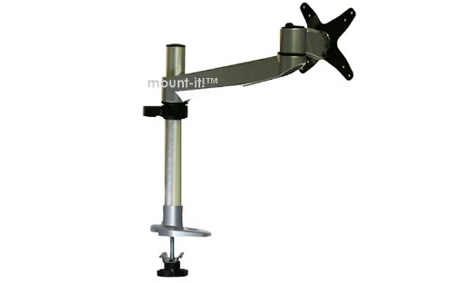 Mount-It! MI-32111 Articulating Full Motion Rotating, Tilting, Swiveling Adjustable Height Tv, Lcd, Led, Plasma, and Computer Monitor Desk Mount Vesa Compatible with Grommet Clamp for Displays 30inches and Under