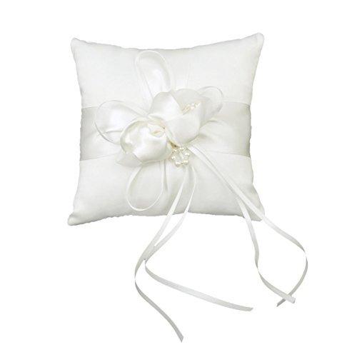 Foxnovo 20 * 20cm belle fleur BudsFaux perles Decor mariage nuptiale Ceramony poche oreiller d'anneau