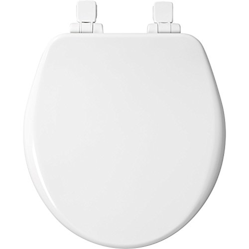 Mayfair Molded Wood Toilet Seat featuring Whisper-Close, Easy Clean & Change Hinges, STA-TITE Seat Fastening System and Precision Seat Fit, Round, White, 64SLOWA - Inch 1/2 Elongated Bowl