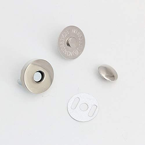 片面カシメ式 マグネットホック マグネットボタン レザークラフト 材料 金具 10組セット (18mm, シルバー)