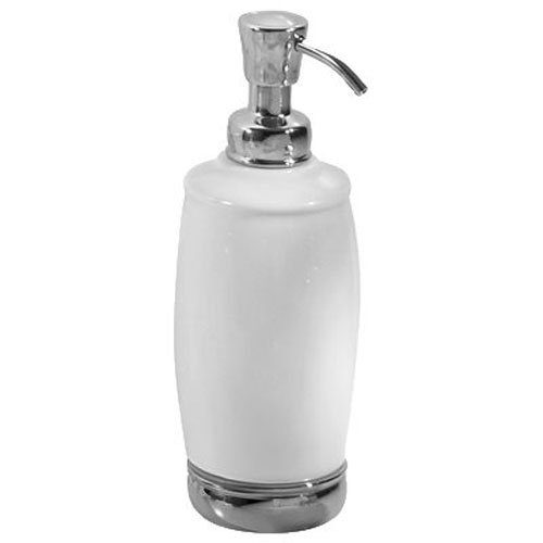 InterDesign York Ceramic Soap and Lotion Dispenser Pump, for Kitchen or Bathroom Countertop - White/Chrome