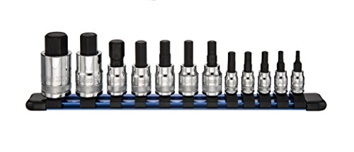 12pc Metric Hex Bit Socket Set | ARES 70108 | Chrome Vanadium Sockets with S2 Alloy Bits includes Aluminum Socket Organizer