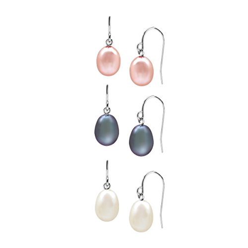 - Set of Three 7.5-8 mm Multicolor Freshwater Cultured Pearl Drop Earrings in Sterling Silver