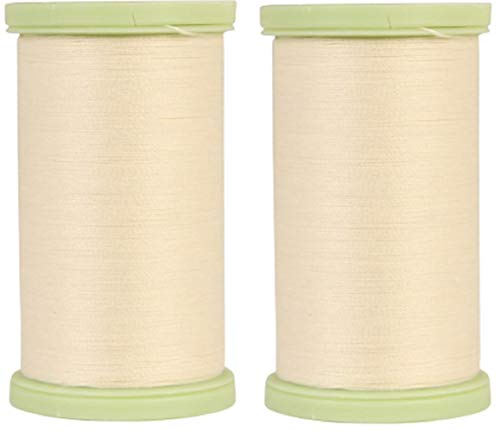 (2 Pack) Coats Dual Duty Plus CREAM Hand Quilting Thread Strong all purpose with glace finish