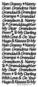 1 x SILVER Gran, Grandad, Grandson, Grandaughter Peeloff Stickers Cardmaking, 670 goldlabel