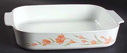 Corning Ware Roaster Large Baking Pan Peach Floral A-21 Corningware
