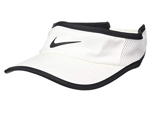 (Nike Aerobill Featherlight Visor White/Black/Black Baseball)