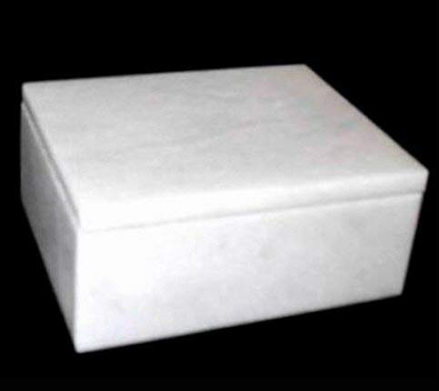 Khan Imports Decorative White Marble Pet Urn Box for Cat or Small Dog Ashes - Up to 14 Pounds