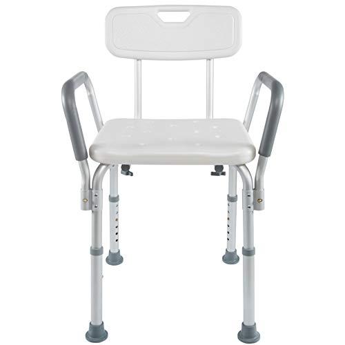 Vaunn Medical Tool-Free Assembly Spa Bathtub Shower Lift Chair, Portable Bath Seat, Adjustable Shower Bench, White Bathtub Lift Chair with Arms