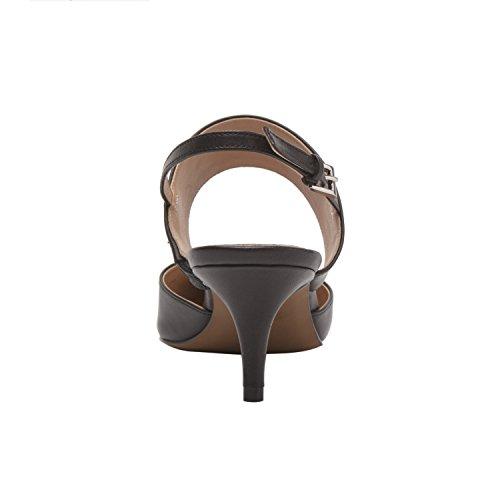 Linea Paolo Cyndi | Kvinna Spetsiga Tå Medelhöjd Häl Läder Slingback (ny Vår) Svart Läder