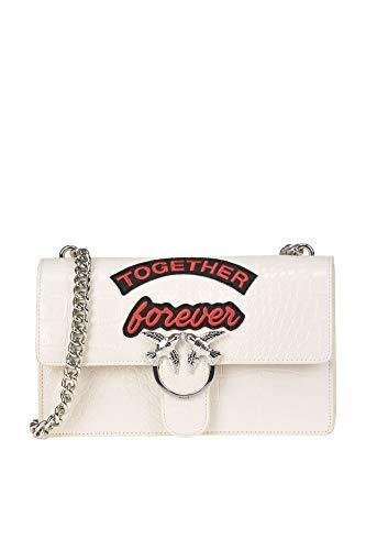 Pinko Women s Mcglbre000005086e White Leather Shoulder Bag 30a741bdfe1