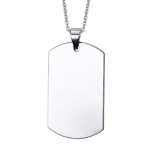 (Free Engraving) Stainless Steel Plain Dog Tag Pendant Necklace with 24' Chain