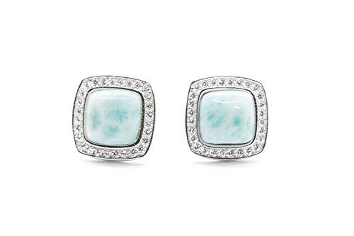 925 Sterling Silver Larimar Stud Earrings Square Shape Natural Genuine Handmade Gemstone Fashion Blue Larimar Earrings for Women and Girl