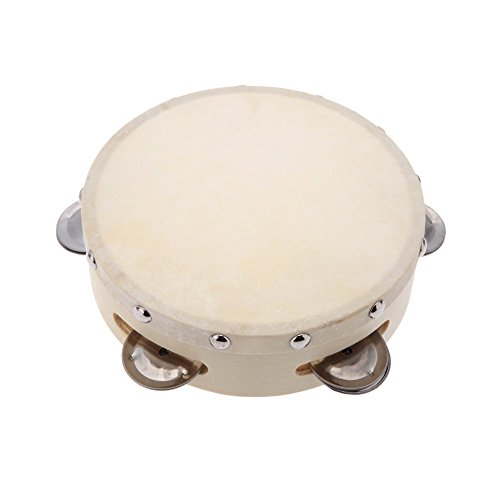 Andoer 6in Hand Held Tambourine Drum Bell Metal Jingles Percussion Musical Toy for KTV Party Kids Games