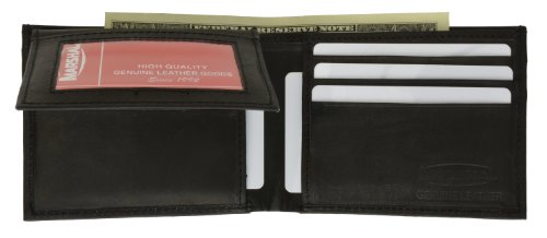 Hidden Pocket Wallet (Marshal Wallet Genuine Leather Men Bifold Flap Up Wallet Hidden Money Pocket (Black))