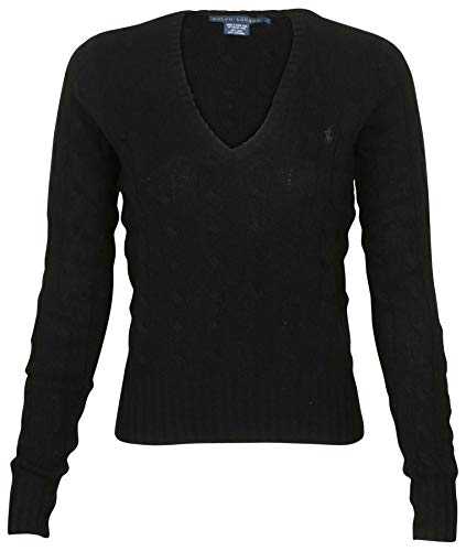 (Ralph Lauren RL Women's Cable Knit Wool V-Neck Pony Sweater (Small, Black))