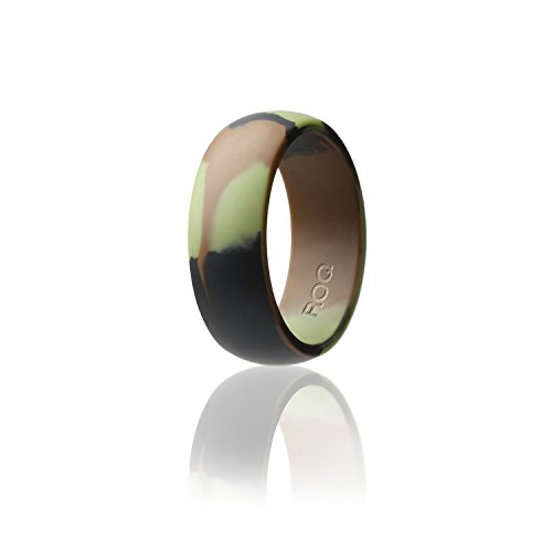 Silicone Wedding Ring For Men By ROQ Affordable Silicone Rubber Band, Camo - Size (Orange Camo Rings)