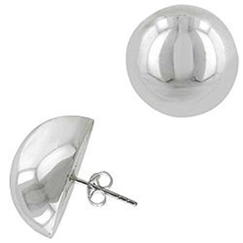 25 Round Beads 8mm (8mm-16mm -.925 Italian Sterling Silver HALF BALL MOON Stud Earrings (Push-Back Post) (.925 Italian Sterling Silver, 16 Millimeters))
