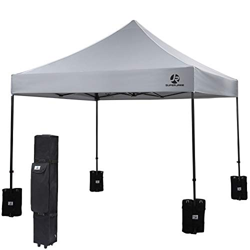 SUPERJARE Pop-up Canopy 4 Weight Bags and a Wheeled Carry Bag 10 x10 Commercial Shelter Outdoor Instant Folding Tent Heavy Duty – Gray
