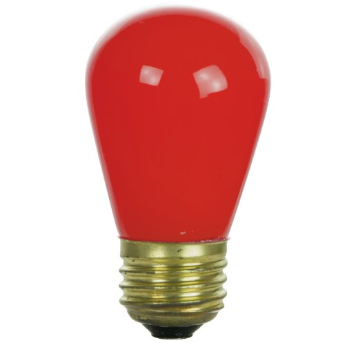 11w S14 Sign (Sunlite 11S14/R Incandescent 11-Watt, Medium Based, S14 Sign Colored Bulb, Red)