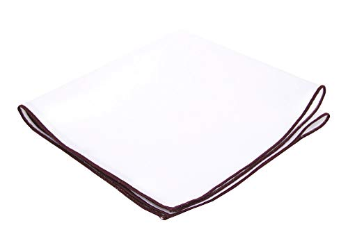 Flairs New York Gentleman's Essentials Weekend Casual White Pocket Square (White / Burgundy -
