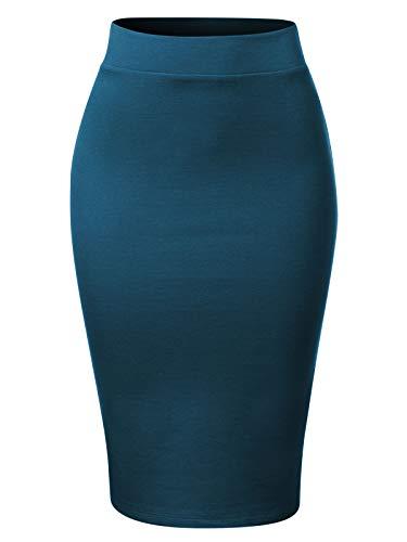 MixMatchy Women's Waist Band Midi Stretchy Ponte Basic Knee Pencil Skirt Teal S