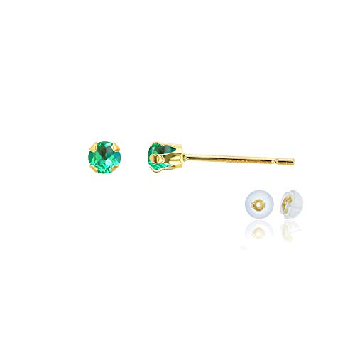 Genuine 10K Solid Yellow Gold 3mm Round Created Green Sapphire September Birthstone Stud Earrings