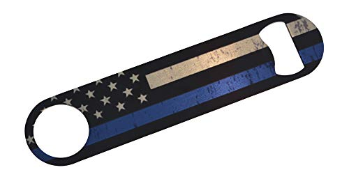 Thin Blue Line Police Officer Speed Bottle Opener Heavy Duty Gift Law Enforcement Blue Lives Matter Flag For Sale
