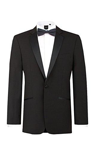 Dobell Mens Black Tuxedo Dinner Jacket Regular Fit 100% Wool Notch Lapel-52L ()