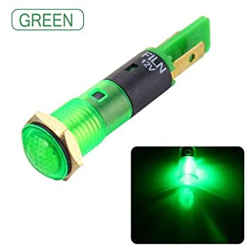 8 mm Led Indicatore Pannello Luce di avvertimento 12 V-Rosso//Blu//Verde//Giallo