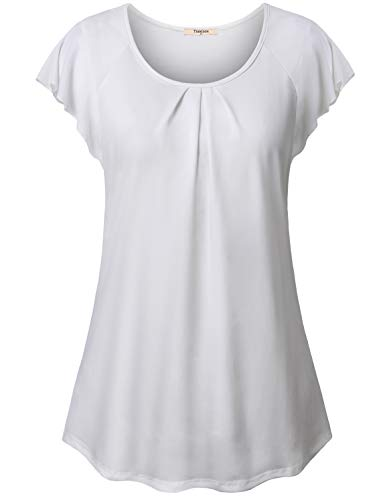(Timeson White Tunic Tops for Women, High Low Tops for Women Ruffles Sleeve Pleated Front Knit Tunics Shirt Light Pleated Front Fitted Slim Round Neck Summer Tops White X-Large)