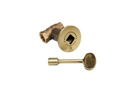 HPC 1/2 Inch Straight Gas Fire Pit Shut Off Valve Kit with Antique Brass Flange and Key