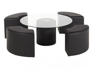 Simili Basse Poufs 4 En Table Clover Noir Inclus zMVpSU
