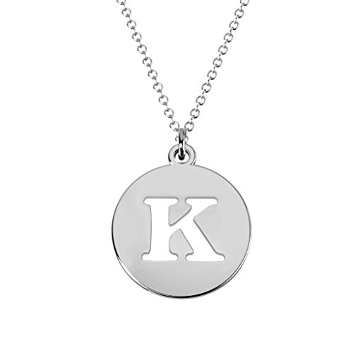 10K White Gold 'K' Initial Disc Cutout Pendant by - Out White Gold Cut