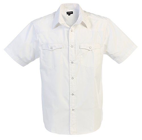 White Western Snap - Gioberti Mens Casual Western Solid Short Sleeve Shirt with Pearl Snaps, White, Large