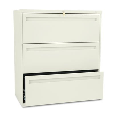 HON COMPANY * 700 Series Three-Drawer Lateral File, 36w x 19-1/4d, Putty, Sold as 1 Each